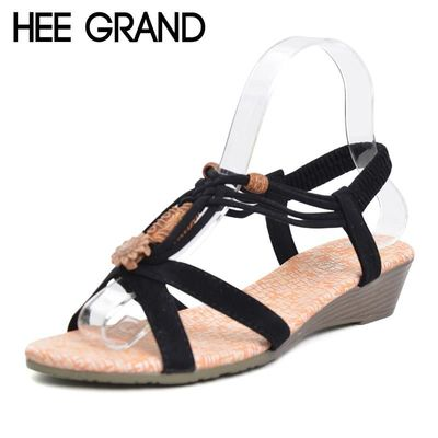 HEE GRAND Women Sandals 2017 Summer New Vintage Style Gladiator Platform Wedges Beach Shoes Woman Bohemia Sandal XWZ591 $19.98
