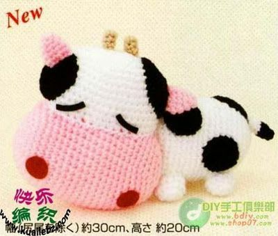 Mini Amigurumi Cow - A Free Crochet Pattern - Grace and Yarn | 339x400