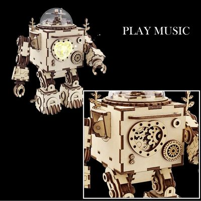 DIY music box Robot Toy, Wooden Assembly kit, educational Toy,DIY projects,3D Puzzle with lights $63.00