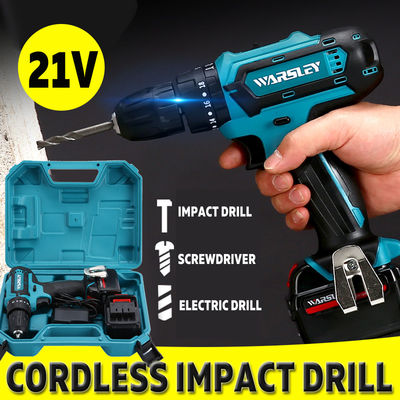 21V Cordless Impact Power Drill Rechargeable 2 Speed Electric Screwdriver Driver with 2 Batteries
