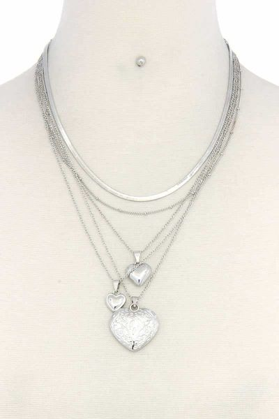 Heart Charm Layered Metal Necklace $15.01