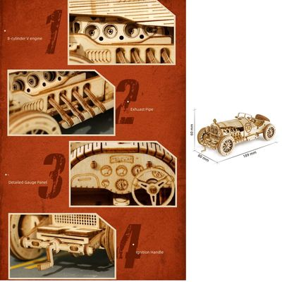 3D Grand Prix Car Wooden Puzzle, Assembly Toy,Gift for Children $46.80