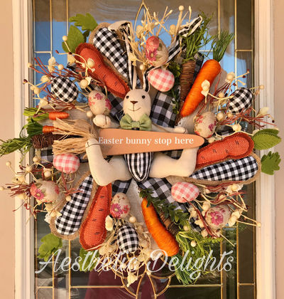 Gingham Bunny Wreath- Black and White Easter $165.00