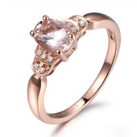 5X7MM OVAL CUT MORGANITE AND DIAMOND ENGAGEMENT RING 14K ROSE GOLD