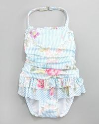 Baby girl swimsuit by Ralph Lauren Remember the rule about newborns and pools: *********Make sure the water is warm enough, preferably between 85 and 87 degrees Fahrenheit. This is especially important for infants who can get hypothermia when exposed to w...