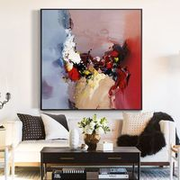 Acrylic painting on canvas red morden Abstract extra Large Wall Art Pictures for living rooms heavy textured cuadro quadros $104.75