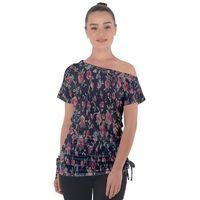 Polka Dotted Rosebuds Tie Up Tee Off Shoulder Tie-Up Tee
