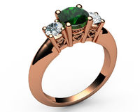14K Rose Gold Emerald 3 stone Ring, Unique Engagement Ring, Heart Filigree, Promise Ring, Love Ring $930.00