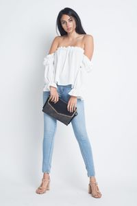 Women's Off Shoulder Ruffle Bardot Top $28.00