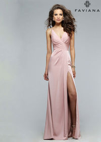2016 Dusty Pink Pleated V Neck Ruching Sexy High Slit Prom Dress