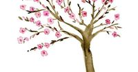 Original watercolor painting Almond Tree in Pink by TheJoyofColor, $42.00