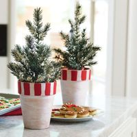 DIY Tartan Mini Tree in Whitewashed Clay Pots for Holiday Decor