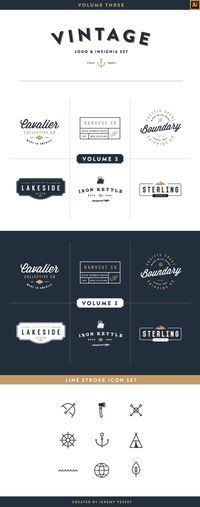 Vintage Logo Kit: Volume Three by Jeremy Vessey, via Behance