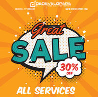Enjoy Great sale with DeDevelopers! 30% off on all services.