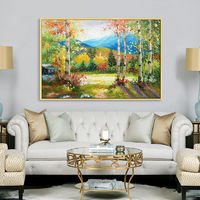 Forest painting acrylic canvas painting green landscape mountains painting Wall Art Pictures for living room home decor caudros decoracion $109.00