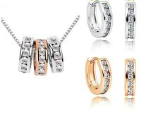 Milan Necklace Earring Set 18K White Gold ,Rose Gold Plated $110.00