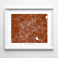 Blackburn, England Street Map Horizontal Print by Inkist Prints - Available at https://www.inkistprints.com
