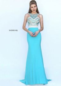 2016 Sherri Hill 50396 Beaded Fitted High Neck Jersey Dress