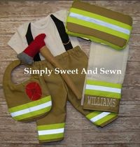 Firefighter Baby Boy Outfit matching bib by SimplySweetByB