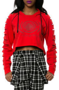 LRG The Armory Cropped Hoodie in High Risk Red