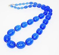 Electric Blue Beaded Necklace, Signed Monet, Graduated Lucite Beads, Translucent Blue Oval Shaped, Vintage 1980s 1990s, 28 inch Opera Length $24.00