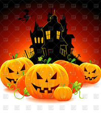 Halloween pumpkins and the silhouette of cartoon house. vector image