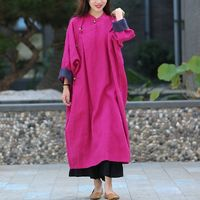 Women's Raglan sleeves Rose red Dress, plus size clothing, Midi Dresses, Linen dress, Buttoned dress, Linen kaftan dress, Linen robe