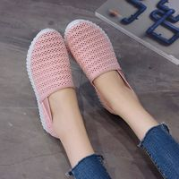 WENYUJH Women Vulcanized Shoes Spring Slip On Mesh Sneakers Shallow Loafers Breathable Soft Hollow Out Female Casual Flats $18.00