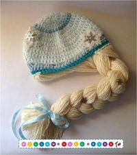 Princess Elsa Hat Inspired by Elsa from Disney's Frozen. Crochet hat with braid. Adorable idea!!!