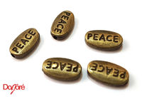 Pack of 20 Mini Bronze or Silver Coloured PEACE Spacer Beads. Inspired Word Charms. 6mm x 10mm £3.79