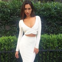 Hollow Out V-neck Bandage Bodycon Dress $28.99