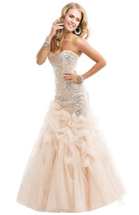 Nude Flirt P4842 Sequin Mermaid Prom Dresses