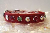 Red Leather Bling Christmas Dog and Cat Collars, Extra Small and Small dog collars, Cat Collars with Swarovski Crystals, Rhinestones $28.00