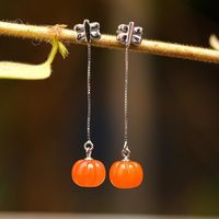 Orange Natural South Red Pumpkin Earrings / 925 Silver Stud Earrings / Bohemian Pumpkin Stud Earrings / Vintage Stud Earrings