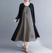 PLUS SIZE AUTUMN COTTON LINEN PLAID BLACK SPLICED ELEGNAT LADY LONG SLEEVE DRESS
