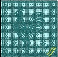 Crochet Rooster in the Filet Stitch Graph Chart Knitting MoEZ Tapestry