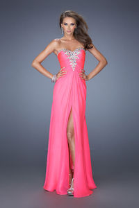 Sumptuous Strapless Side Split Gown Neon Pink with Luminous Accents