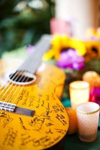 {guitar = wedding guest book}