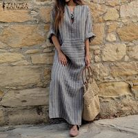 ZANZEA Women Striped Dress 2018 Autumn Vintage Casual Loose Maxi Long Dresses Sexy V Neck Long Sleeve Vestidos Plus Size $38.94