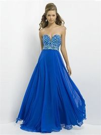 A-line strapless V-neck beaded chiffon blue sexy 2014 prom Dresses
