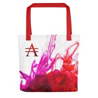 Purple and Red Ink Pool on White Tote bag $25.00