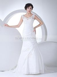 ELEGANT MERMAID TAFFETA WEDDING GOWN WITH LACE TOP