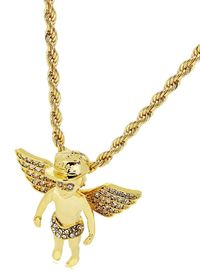 """Premium Men's Gold Plated Angel on Cap Micro Pendant Iced Out Iron Rope Chain 3mm 30"""" Hip Hop Bling Necklace £19.38"""