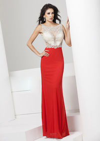 High Illusion Sheer Beaded Champagne Bodice Red Mesh Prom Dress