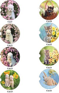 Cats 9-16, 2 Absorbent Car Coasters, Car Accessories for her, Auto Coaster, Coaster, Cup Holder Coaster, Gift For Her, For Him $14.00