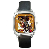 African Womens Profile on a Womens Silver Square Watch with Leather Band $32.00