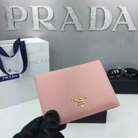 Prada 1M1412 Lettering Logo Saffiano Leather Passport Holder In Apricot