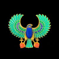 Hattie Carnegie Signed Egyptian Revival Enamel Falcon/Horus Pin Brooch $955.00