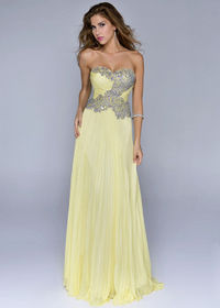 Lemon Ruched Long Beaded Prom Dresses 2014