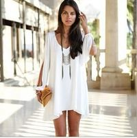 Casual Plus Size Women Long sleeve solid color Chiffon V Beach Dress